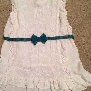 WHBM teal bow belt